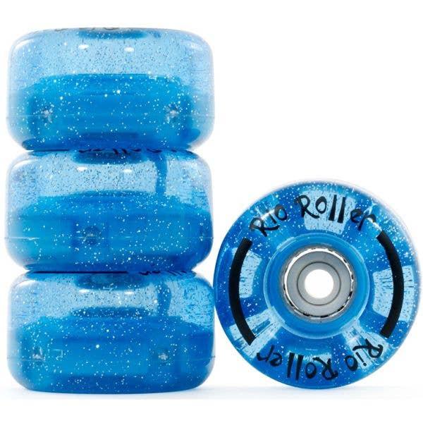 Rio Roller Light Up Quad Roller Skate 54mm Wheels - Blue Glitter