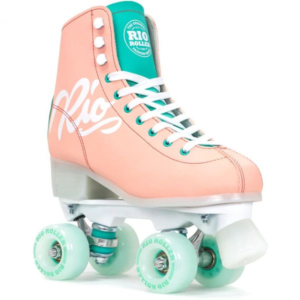 Rio Roller Script Quad Roller Skates - Peach/Green