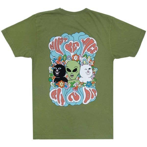 RIPNDIP Flower Child T Shirt - Dirty Olive