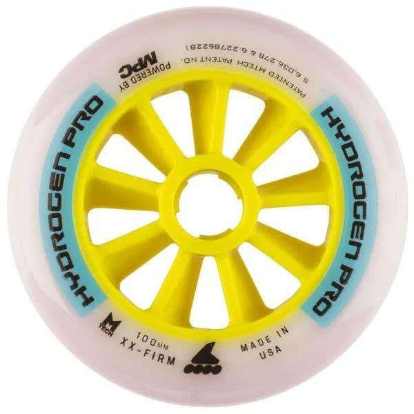 Rollerblade Hydrogen Pro 100mm XX-Firm Inline Skate Wheels - White/Blue