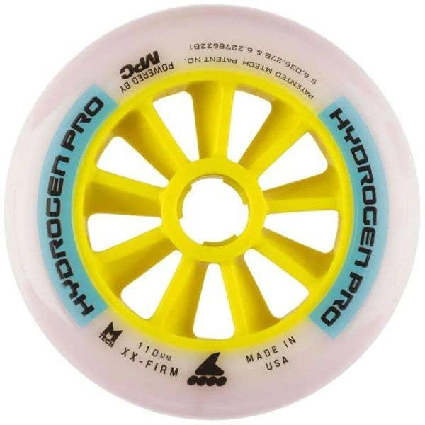 Rollerblade Hydrogen Pro 110mm XX-Firm Inline Skate Wheels - White/Blue
