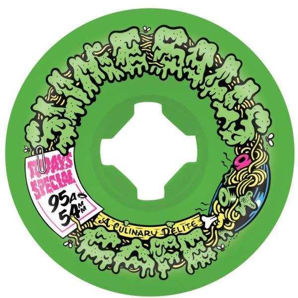Santa Cruz Slime Balls Double Take Cafe Vomit Mini 95a Skateboard Wheels - Green/Black 54mm
