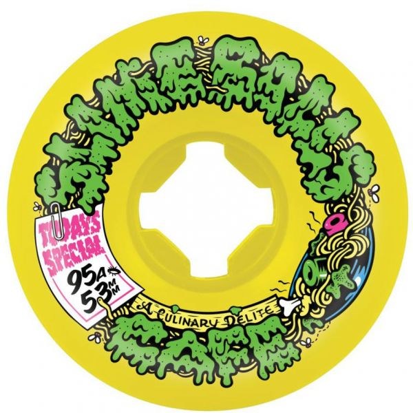 Santa Cruz Slime Balls Double Take Cafe Vomit Mini 95a Skateboard Wheels - Yellow/Black 53mm