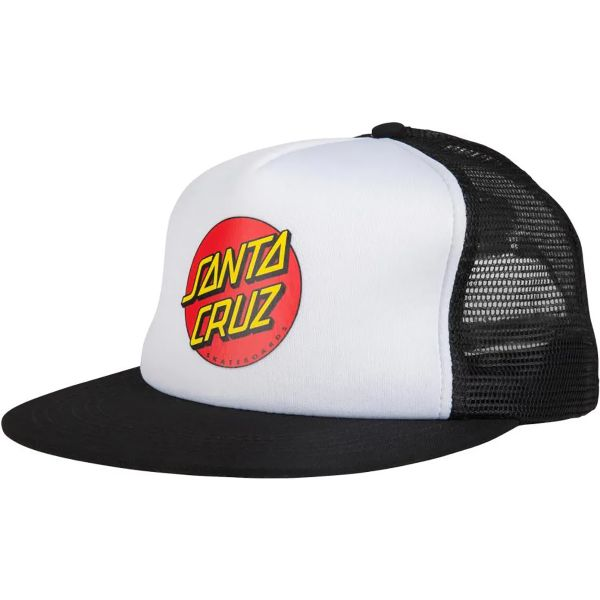 Santa Cruz Classic Dot Mesh Cap - White/Black