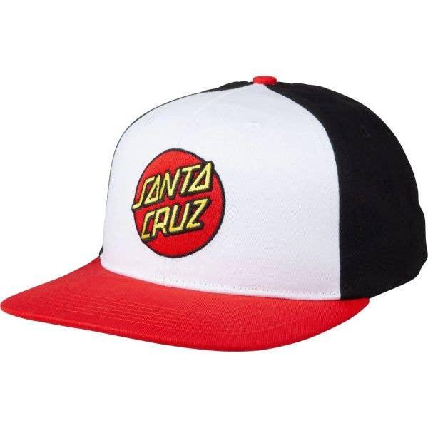 Santa Cruz Classic Dot Snapback Cap - White/Black/Red