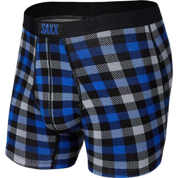 Saxx Vibe Boxer Briefs - Blue Flannel Check
