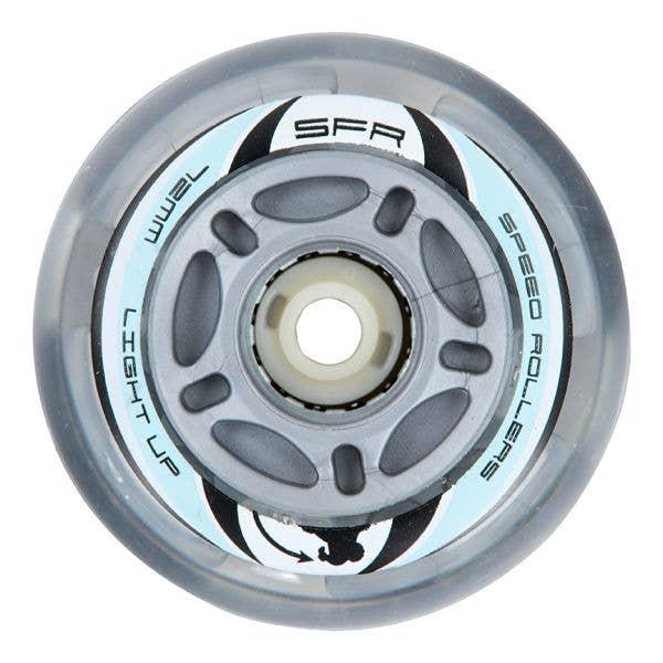 SFR Light Up Inline Skate Wheels - Silver 72mm