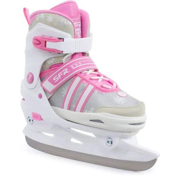 SFR Nova Adjustable Ice Skates - White/Pink LRG (UK1 - UK4)