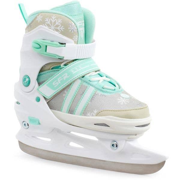 SFR Nova Adjustable Ice Skates - White/Teal MED (J11 - UK1)