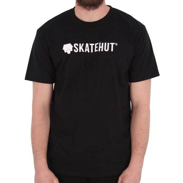 SkateHut Script Logo T Shirt - Black/White