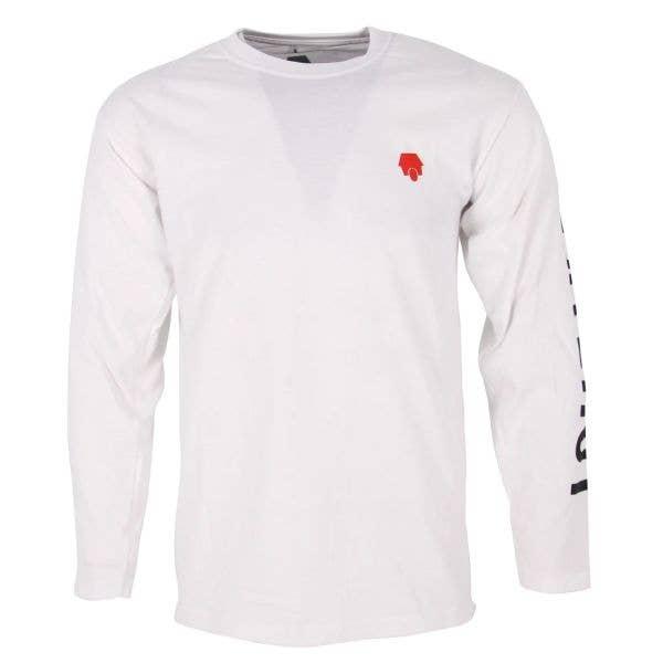 SkateHut Sleeve Script Long Sleeve T Shirt - White/Black