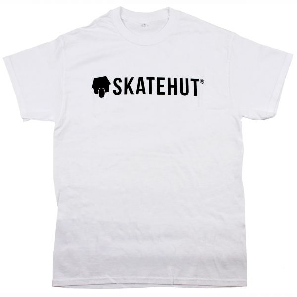 SkateHut Script Logo T Shirt - White/Black