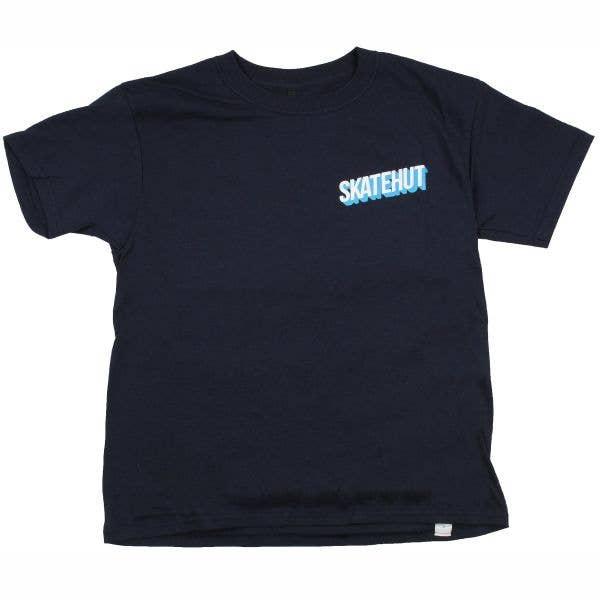 SkateHut 3D Stacked Kids T Shirt - Navy