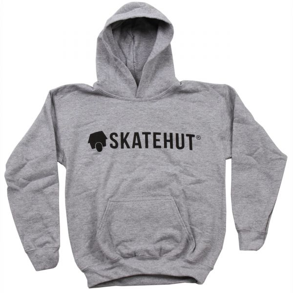 SkateHut Script Logo Kids Hoodie - Grey/Black