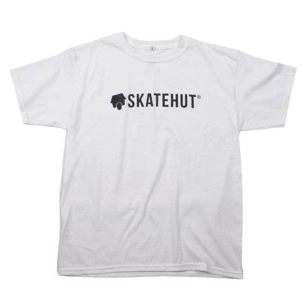 SkateHut Script Kids T Shirt - White/Black