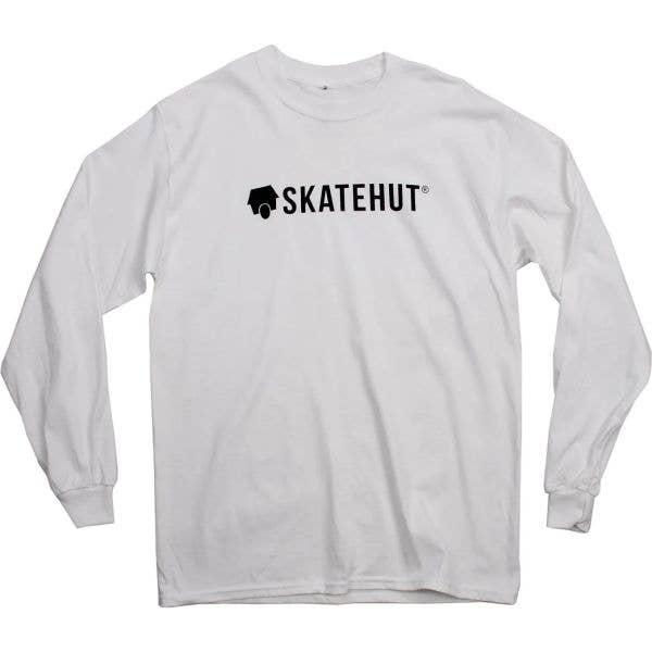 SkateHut Script Logo Longsleeve T Shirt - White/Black