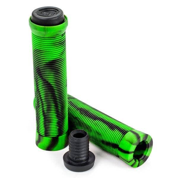 Slamm Pro Swirl Scooter Grips - Green/Black