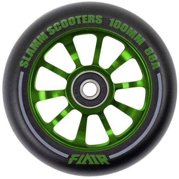 Slamm Flair 2.0 100mm Scooter Wheel - Black/Green