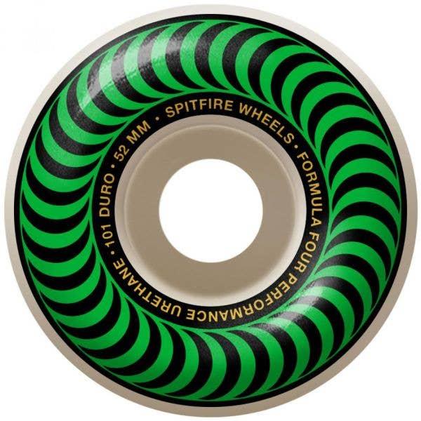 Spitfire Formula Four Classic 101a Skateboard Wheels - Green 52mm (Pack of 4)