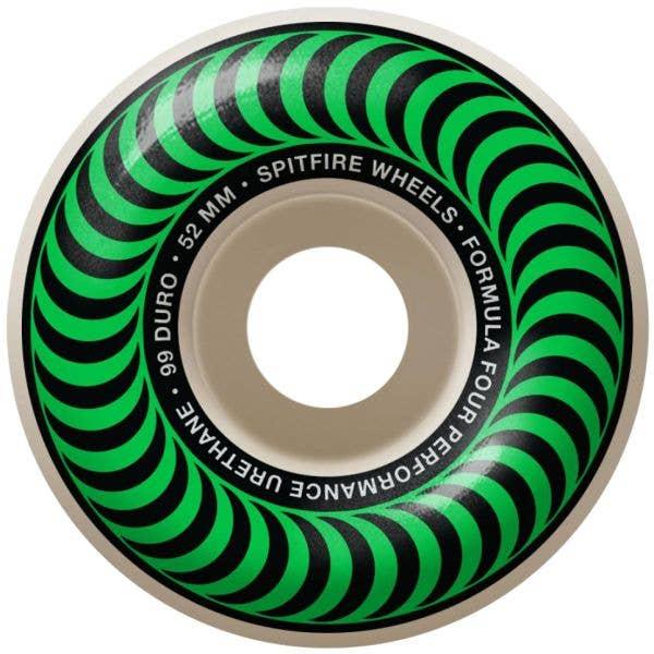 Spitfire Formula Four Classic 99a Skateboard Wheels - Green 52mm (Pack of 4)