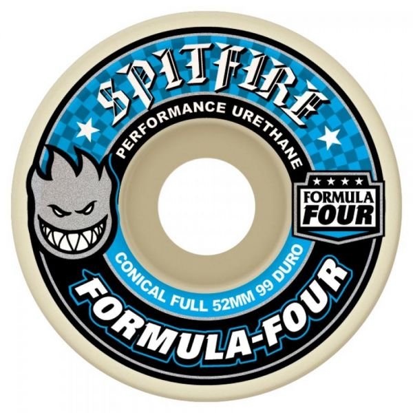 Spitfire Formula Four Conical Full 99D Skateboard Wheels - Blue 52mm (Pack of 4)