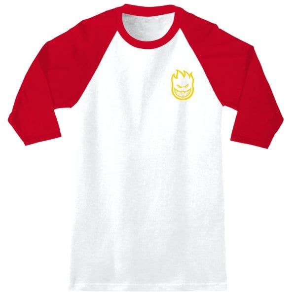 Spitfire Bighead DBL Raglan T Shirt - White/Red/Yellow