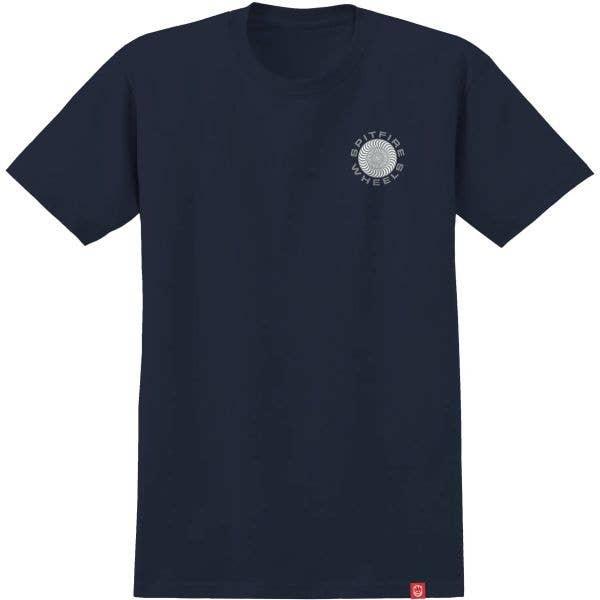 Spitfire Classic 87' Swirl T Shirt - Navy/Sliver Fleck & White