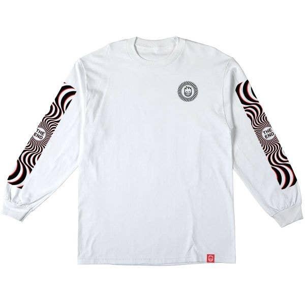 Spitfire Classic Swirl Sleeve Overlay Long Sleeve T Shirt - White/Black & Red