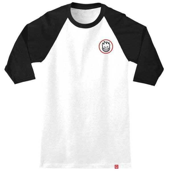 Spitfire Classic Swirl Overlay Raglan T Shirt - White/Black/Red & Black