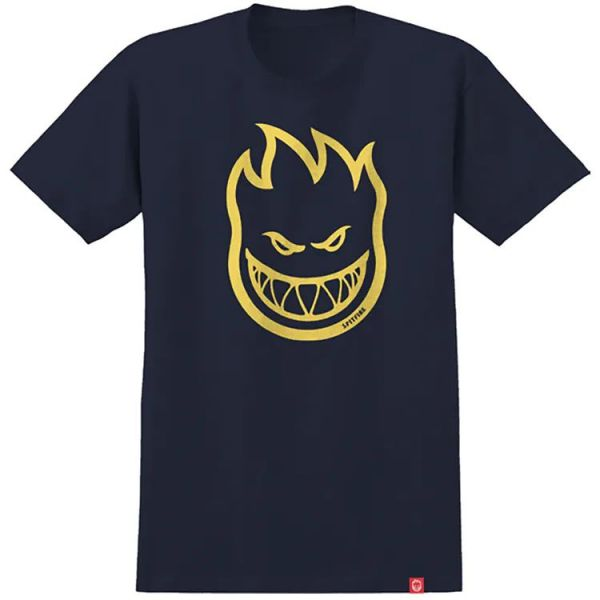 Spitfire Bighead T Shirt - Navy/Yellow