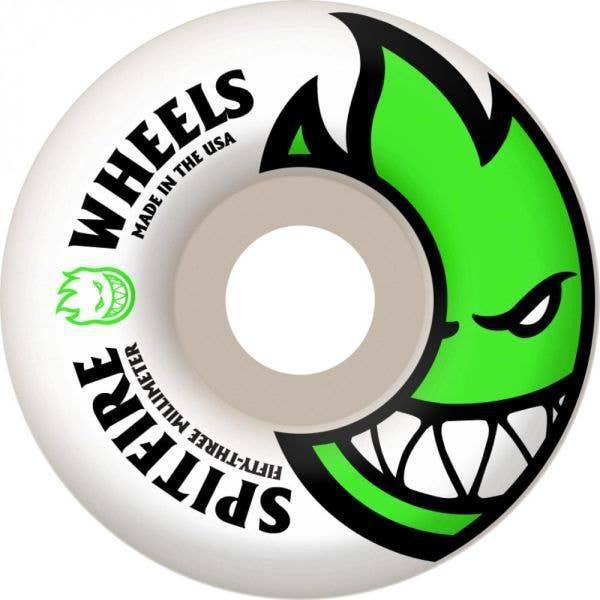 Spitfire White Skateboard Wheels Bighead - Neon Green 53mm