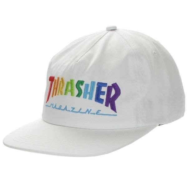 Thrasher Rainbow Mag Snapback Cap - White