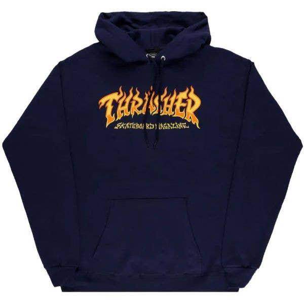 Thrasher Fire Logo Hoodie - Navy