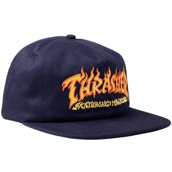 Thrasher Fire Logo Snapback Cap - Navy