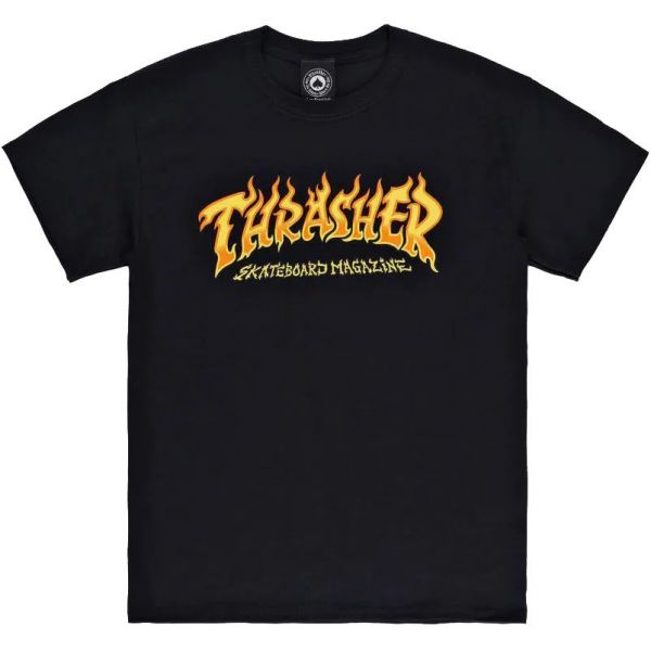 Thrasher Fire Logo T Shirt - Black