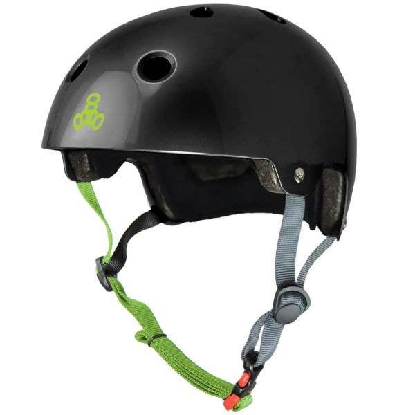 Triple 8 Dual Certified Helmet - Gloss Black/Zest