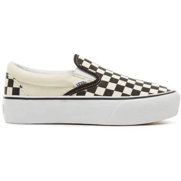 Vans Classic Slip-On Platform Skate Shoes - Black/White (Checkerboard)