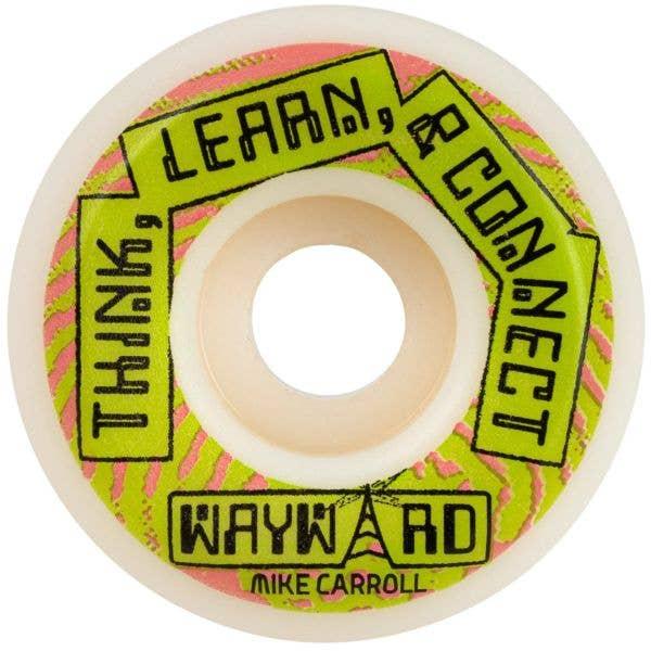 Wayward Pro Funnel Mike Carroll Skateboard Wheels - White/Green 53mm