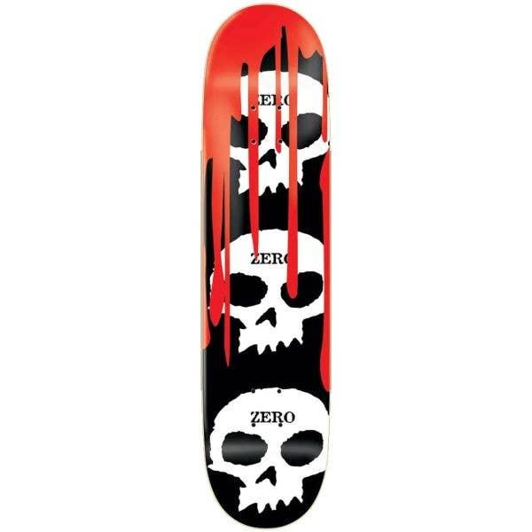 Zero 3 Skull Blood Skateboard Deck - Black/White/Red 7.75''