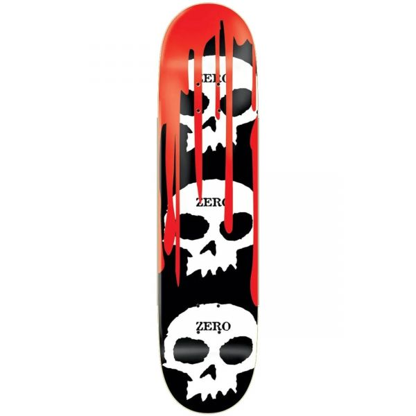 Zero 3 Skull Blood Skateboard Deck - Black/White/Red 8.5''