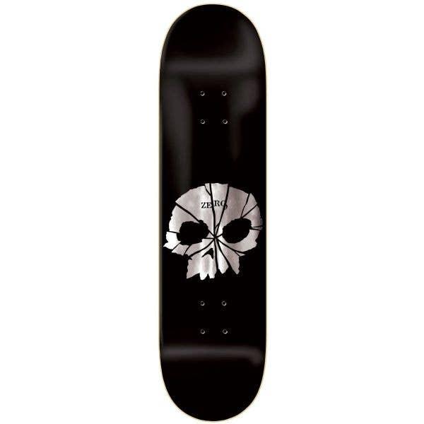 Zero Shattered Skull Skateboard Deck - Black/Silver Foil 8.25''