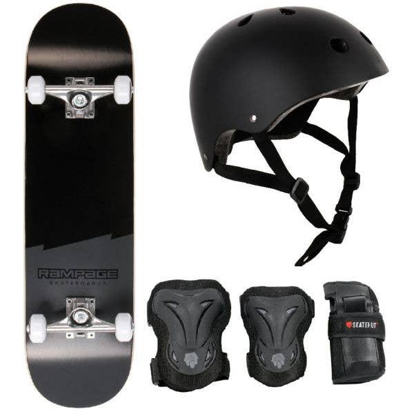 Rampage Plain Third Skateboard Bundle