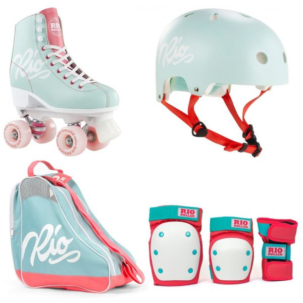 Rio Roller Script Quad Roller Skates Deluxe Bundle