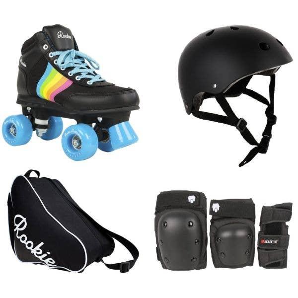 Rookie Forever Rainbow Quad Roller Skates Deluxe Bundle