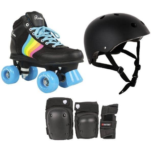 Rookie Forever Rainbow Quad Roller Skates Bundle